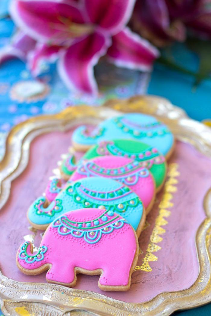 Elephant cookies from a Bollywood Inspired Birthday Party via Kara's Party Ideas | KarasPartyIdeas.com (12)