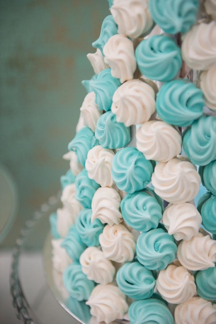 Meringue Tower from a Breakfast at Tiffany's Inspired Birthday Party via Kara's Party Ideas | KarasPartyIdeas.com (51)