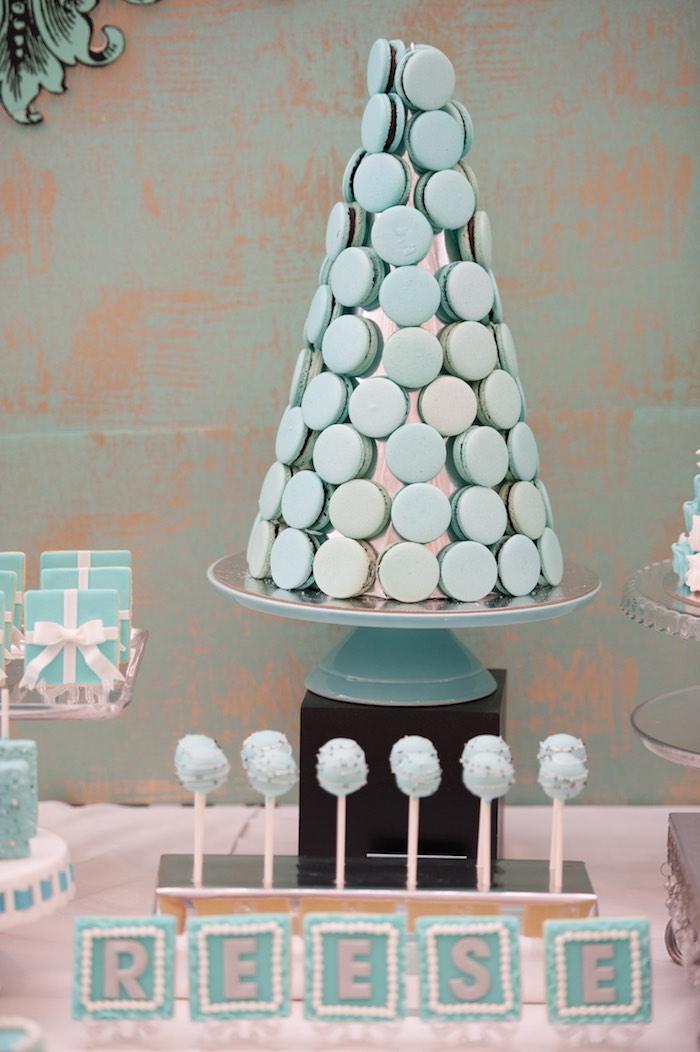 Macaron Tower from a Breakfast at Tiffany's Inspired Birthday Party via Kara's Party Ideas | KarasPartyIdeas.com (50)