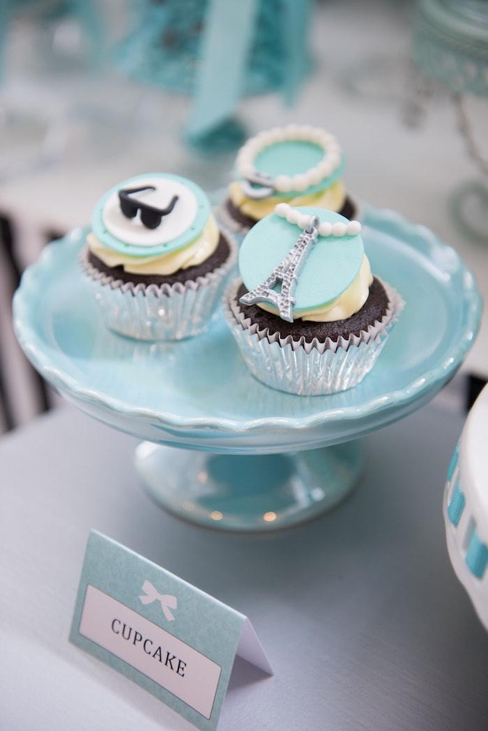 Cupcakes from a Breakfast at Tiffany's Inspired Birthday Party via Kara's Party Ideas | KarasPartyIdeas.com (47)