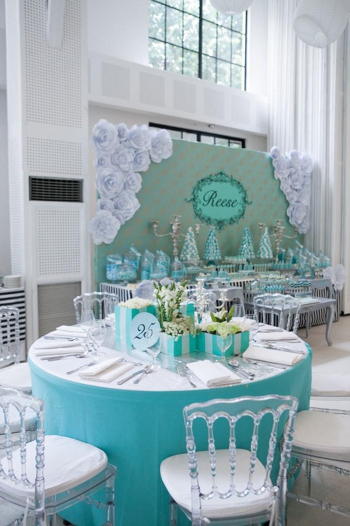 Dining Table from a Breakfast at Tiffany's Inspired Birthday Party via Kara's Party Ideas | KarasPartyIdeas.com (45)