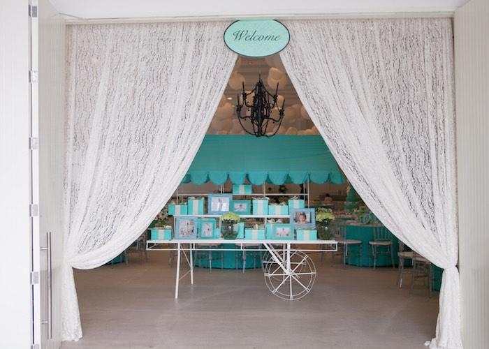Entrance to a Breakfast at Tiffany's Inspired Birthday Party via Kara's Party Ideas | KarasPartyIdeas.com (43)