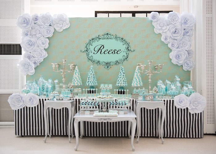 Dessert Table From A Breakfast At Tiffanys Inspired Birthday Party Via Karas Ideas