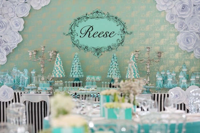 Sweet Table Details from a Breakfast at Tiffany's Inspired Birthday Party via Kara's Party Ideas | KarasPartyIdeas.com (42)