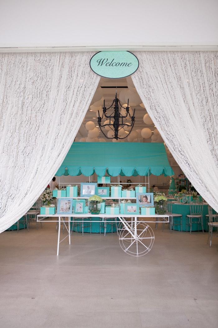 Entrance to a Breakfast at Tiffany's Inspired Birthday Party via Kara's Party Ideas | KarasPartyIdeas.com (41)