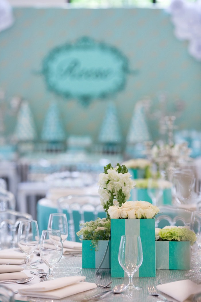 Dining Tablescape from a Breakfast at Tiffany's Inspired Birthday Party via Kara's Party Ideas | KarasPartyIdeas.com (39)