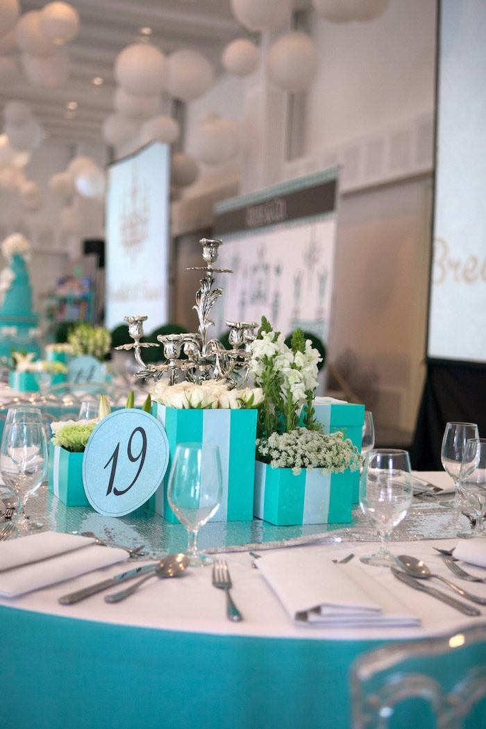 Dining Tablescape from a Breakfast at Tiffany's Inspired Birthday Party via Kara's Party Ideas | KarasPartyIdeas.com (38)