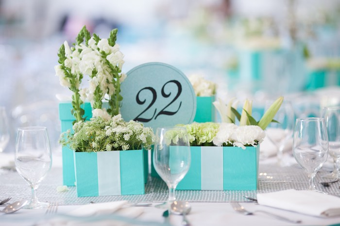 Dining Table Centerpieces from a Breakfast at Tiffany's Inspired Birthday Party via Kara's Party Ideas | KarasPartyIdeas.com (36)