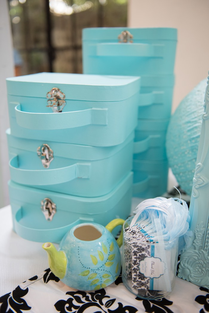 Tiffany-inspired Luggage Cases for Decorating from a Breakfast at Tiffany's Inspired Birthday Party via Kara's Party Ideas | KarasPartyIdeas.com (34)