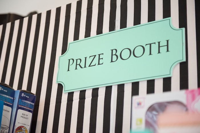 Prize Booth Signage from a Breakfast at Tiffany's Inspired Birthday Party via Kara's Party Ideas | KarasPartyIdeas.com (32)