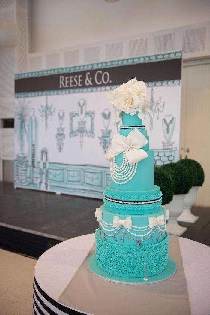 Cake from a Breakfast at Tiffany's Inspired Birthday Party via Kara's Party Ideas | KarasPartyIdeas.com (30)