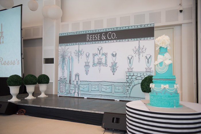 Party Backdrop/Stage + Cake from a Details from a Breakfast at Tiffany's Inspired Birthday Party via Kara's Party Ideas | KarasPartyIdeas.com (29)