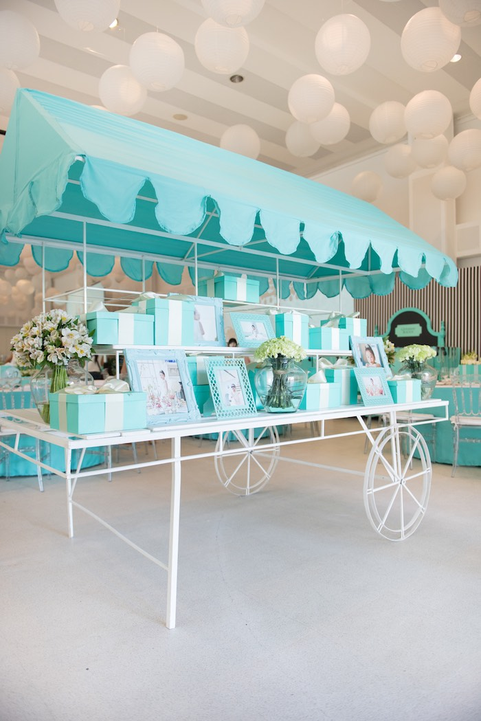 Decor Cart from a Breakfast at Tiffany's Inspired Birthday Party via Kara's Party Ideas | KarasPartyIdeas.com (27)