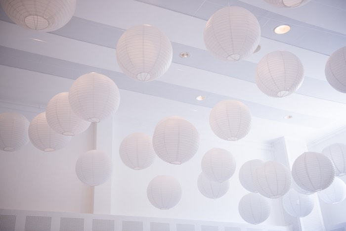 Hanging Paper Lanterns from a Breakfast at Tiffany's Inspired Birthday Party via Kara's Party Ideas | KarasPartyIdeas.com (25)