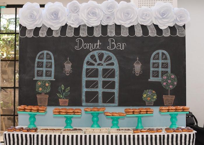 Donut Bar from a Breakfast at Tiffany's Inspired Birthday Party via Kara's Party Ideas | KarasPartyIdeas.com (24)