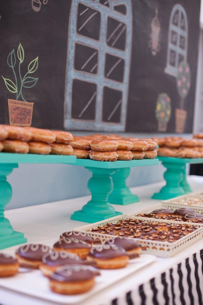 Donut Bar from a Breakfast at Tiffany's Inspired Birthday Party via Kara's Party Ideas | KarasPartyIdeas.com (22)