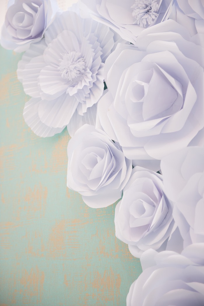 Paper Flower Backdrop Detail from a Breakfast at Tiffany's Inspired Birthday Party via Kara's Party Ideas | KarasPartyIdeas.com (58)