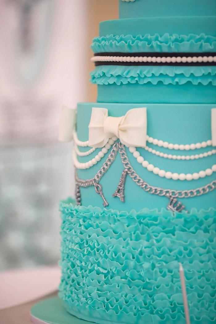 Cake Detail from a Breakfast at Tiffany's Inspired Birthday Party via Kara's Party Ideas | KarasPartyIdeas.com (11)