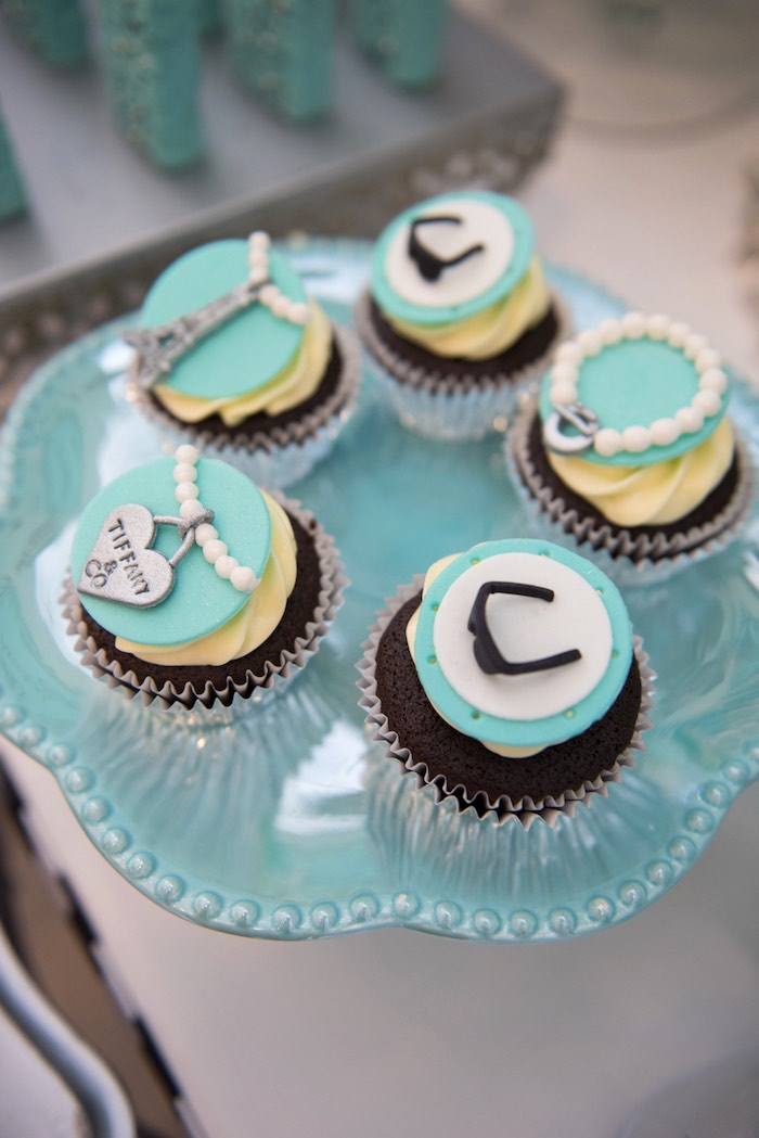 Cupcakes from a Breakfast at Tiffany's Inspired Birthday Party via Kara's Party Ideas | KarasPartyIdeas.com (57)