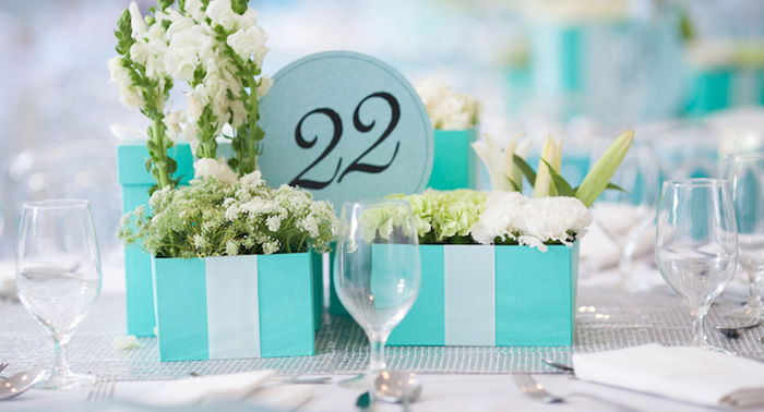 Dining Tablescape from a Breakfast at Tiffany's Inspired Birthday Party via Kara's Party Ideas | KarasPartyIdeas.com (1)