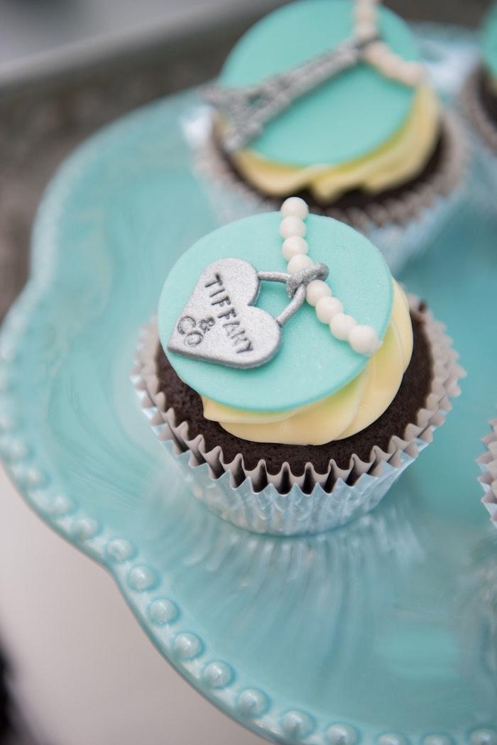 Cupcake from a Breakfast at Tiffany's Inspired Birthday Party via Kara's Party Ideas | KarasPartyIdeas.com (56)