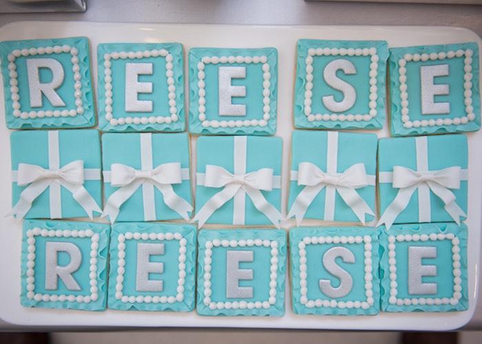 Tiffany's-inspired Cookies from a Breakfast at Tiffany's Inspired Birthday Party via Kara's Party Ideas | KarasPartyIdeas.com (53)
