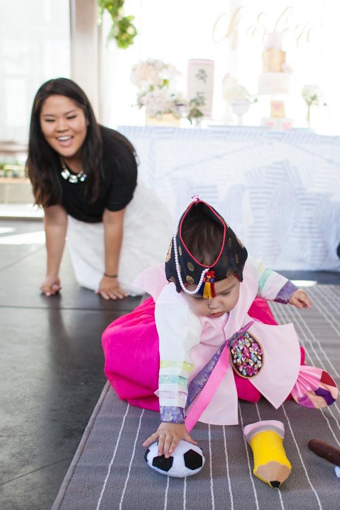 Traditional Korean Dol from a Chic Tropical Hawaiian Themed Birthday Party via Kara's Party Ideas KarasPartyIdeas.com (9)