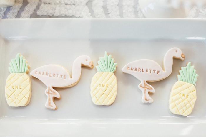 Flamingo + pineapple cookies from a Chic Tropical Hawaiian Themed Birthday Party via Kara's Party Ideas KarasPartyIdeas.com (21)