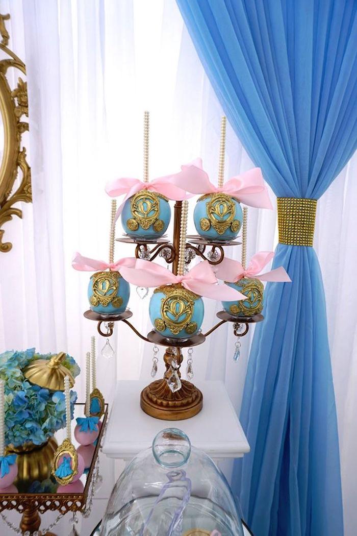 Cinderella's Carriage-inspired gourmet apples from a Gourmet apples from a Cinderella Birthday Party via Kara's Party Ideas | KarasPartyIdeas.com (16)