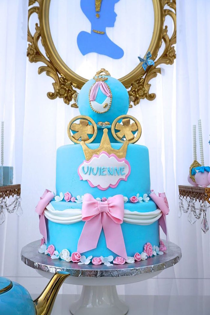 Cinderella cake from a Cinderella Birthday Party via Kara's Party Ideas | KarasPartyIdeas.com (14)