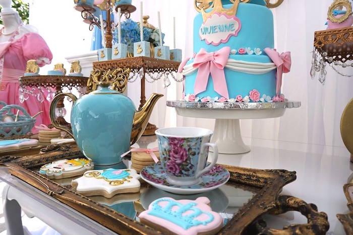 Details atop an incredible dessert table from a Cinderella Birthday Party via Kara's Party Ideas | KarasPartyIdeas.com (13)