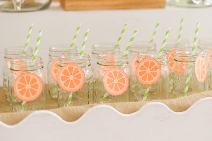 Drink jars from a Citrus Harvest Birthday Party via Kara's Party Ideas! KarasPartyIdeas.com (33)