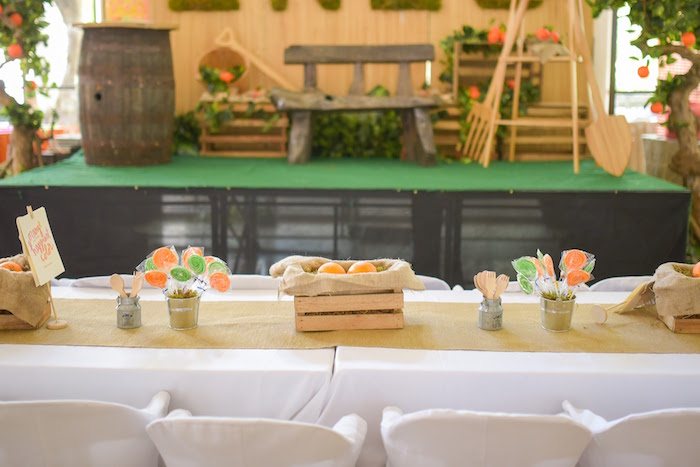 Guest table from a Citrus Harvest Birthday Party via Kara's Party Ideas! KarasPartyIdeas.com (28)