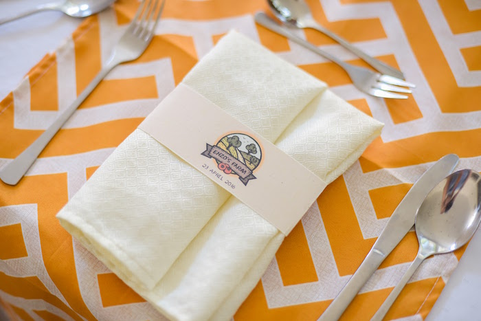 Place setting from a Citrus Harvest Birthday Party via Kara's Party Ideas! KarasPartyIdeas.com (45)