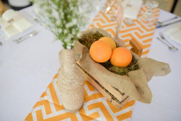 Table centerpieces from a Citrus Harvest Birthday Party via Kara's Party Ideas! KarasPartyIdeas.com (25)