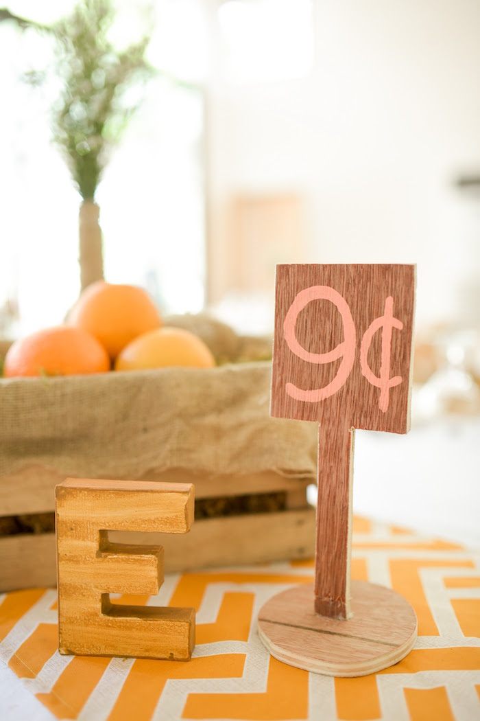 Guest table centerpieces + Table Number from a Citrus Harvest Birthday Party via Kara's Party Ideas! KarasPartyIdeas.com (24)