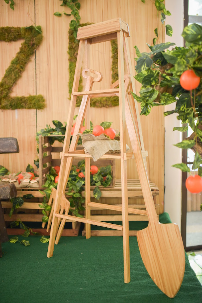 Wooden ladder/decor details from a Citrus Harvest Birthday Party via Kara's Party Ideas! KarasPartyIdeas.com (23)