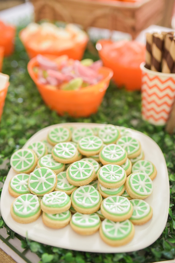 Lime slice cookies from a Citrus Harvest Birthday Party via Kara's Party Ideas! KarasPartyIdeas.com (17)