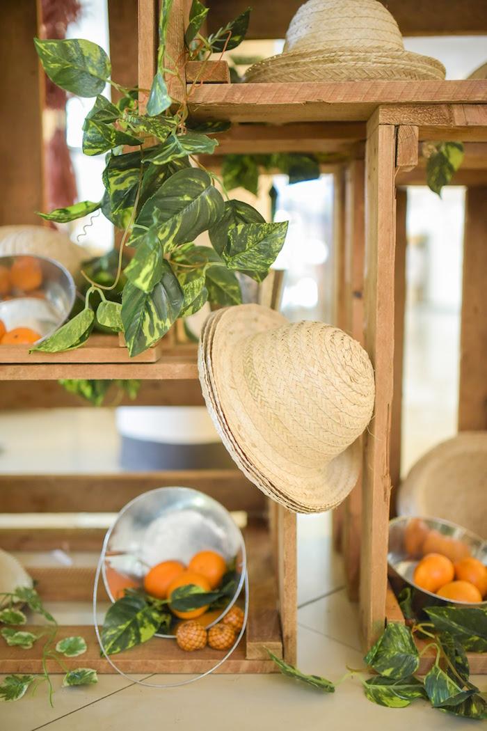 Harvest hats + decor from a Citrus Harvest Birthday Party via Kara's Party Ideas! KarasPartyIdeas.com (15)