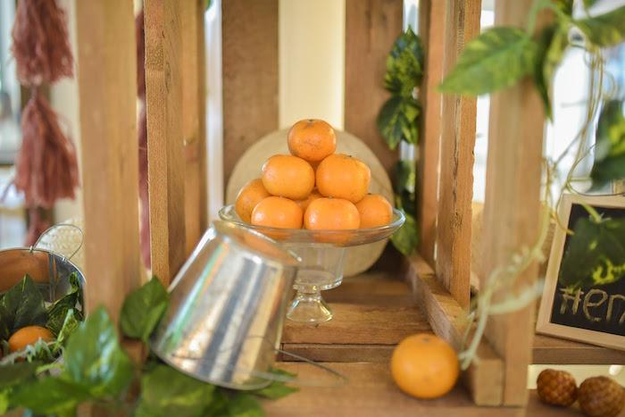 Decor from a Citrus Harvest Birthday Party via Kara's Party Ideas! KarasPartyIdeas.com (14)