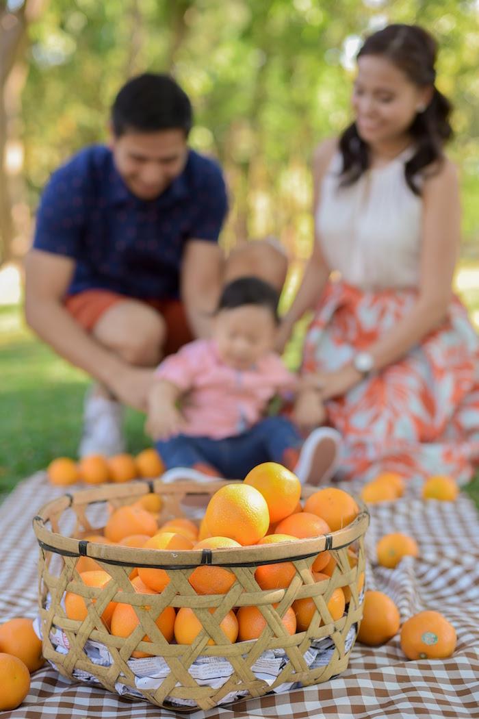 Basket full of oranges from a Citrus Harvest Birthday Party via Kara's Party Ideas! KarasPartyIdeas.com (8)