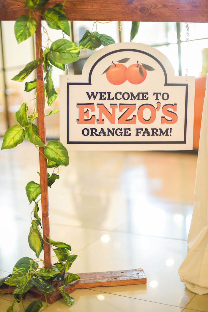 Welcome sign from a Citrus Harvest Birthday Party via Kara's Party Ideas! KarasPartyIdeas.com (6)