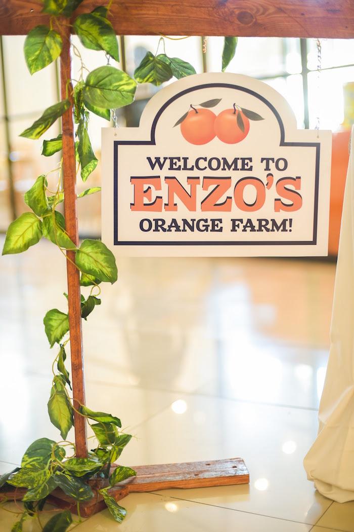 Welcome sign from a Citrus Harvest Birthday Party via Kara's Party Ideas! KarasPartyIdeas.com (6)