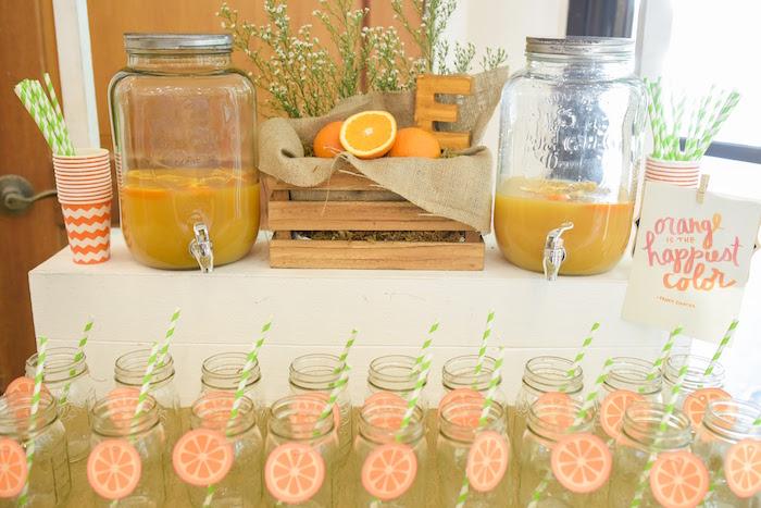Drink table from a Citrus Harvest Birthday Party via Kara's Party Ideas! KarasPartyIdeas.com (5)