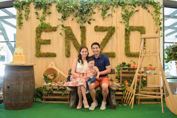 Birthday Boy + Parents photo op from a Citrus Harvest Birthday Party via Kara's Party Ideas! KarasPartyIdeas.com (4)
