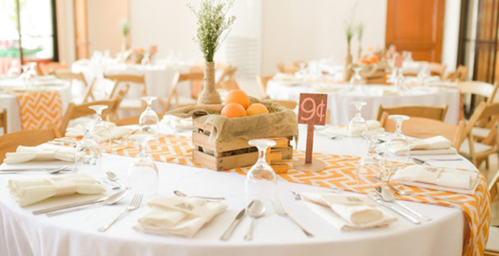 Dining tablescape from a Citrus Harvest Birthday Party via Kara's Party Ideas! KarasPartyIdeas.com (2)