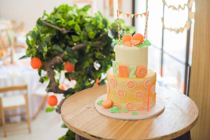 Cake from a Citrus Harvest Birthday Party via Kara's Party Ideas! KarasPartyIdeas.com (42)