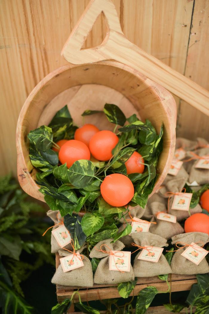 Favor display from a Citrus Harvest Birthday Party via Kara's Party Ideas! KarasPartyIdeas.com (40)