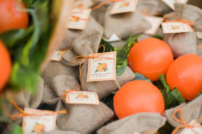 Burlap favor pouches from a Citrus Harvest Birthday Party via Kara's Party Ideas! KarasPartyIdeas.com (39)