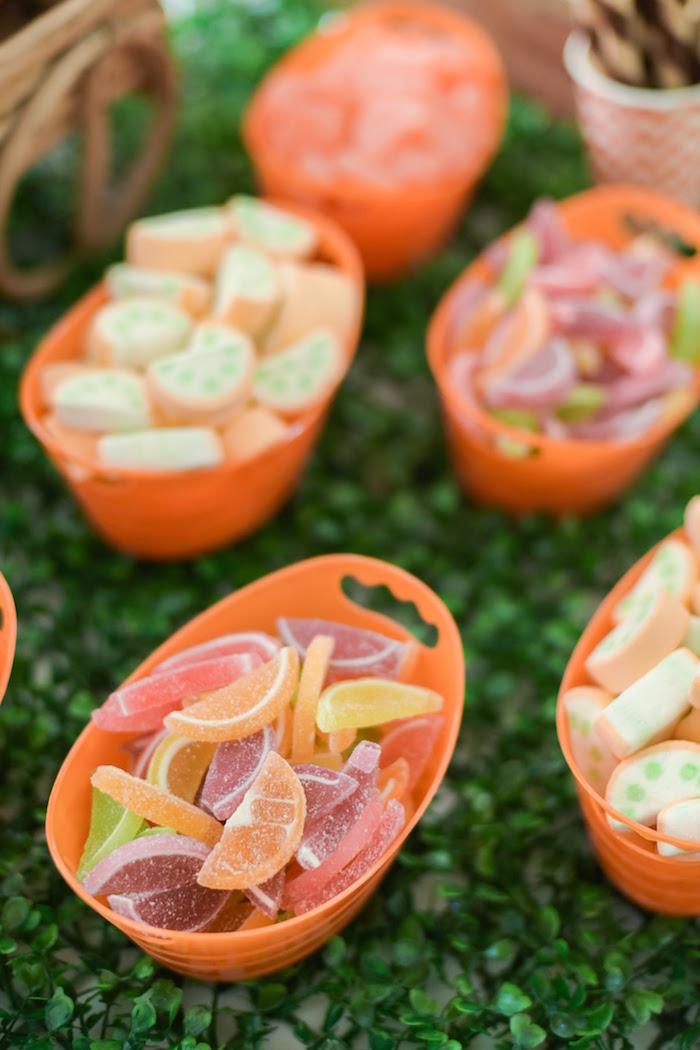 Fruit slice candy from a Citrus Harvest Birthday Party via Kara's Party Ideas! KarasPartyIdeas.com (37)
